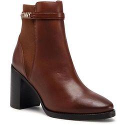 Botki TOMMY HILFIGER - Block Branding High Heel Boot FW0FW05153 Pumpkin Paradise GOW