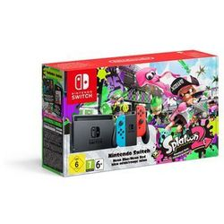 Nintendo Switch with Neon Blue & Red Joy-Con & Splatoon 2