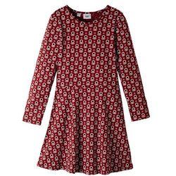Sukienka z dżerseju bonprix czerwony kasztanowy z nadrukiem