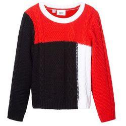 Sweter dzianinowy w warkocze bonprix czarno-biało-czerwony