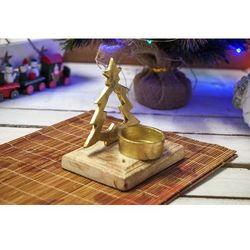 Świecznik metalowy choinka złoty