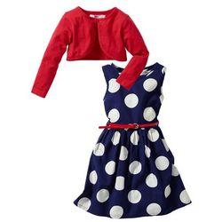 Sukienka + pasek + bolerko (3 części) bonprix kobaltowy w groszki - truskawkowy