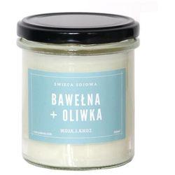 Świeca sojowa BAWEŁNA + OLIWKA - aromatyczna ręcznie robiona naturalna świeca zapachowa w słoiczku 300ml