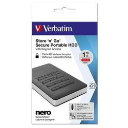 Verbatim Dysk zewnętrzny Store n Go 1TB 2.5 czarny USB 3.1 Secure szyfrowany