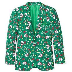 Marynarka zdobiona bożonarodzeniowymi motywami Slim Fit bonprix zielony z nadrukiem