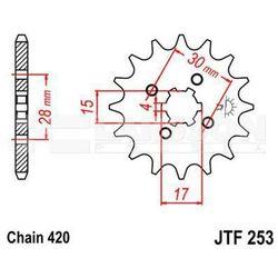 Zębatka przednia JT F253-15, 15Z, rozmiar 420 2200225 Honda CR 80, Z 50, NSR 50