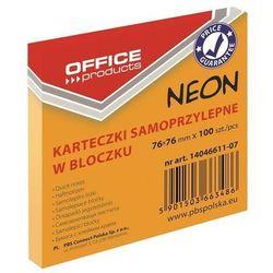 Bloczek samoprzylepny OFFICE PRODUCTS, 76x76mm, 1x100 kart., neon, pomarańczowy