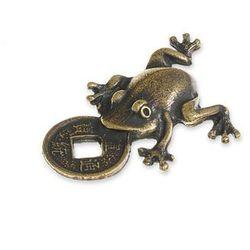 FIGURKA ŻABKA FORTUNY symbole chińskie kolor stare złoto zwierzęta feng shui