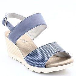 CAPRICE 9-28701-20 BLUE COMB - Sandały ze skóry na koturnie WYPRZEDAŻ -45% (-45%)