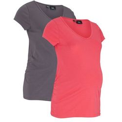 Shirt ciążowy basic (2 szt.) bonprix różowy hibiskus + szary łupkowy