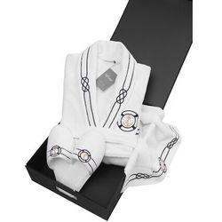 Męski szlafrok MARINE MAN w ozdobnym opakowaniu + ręcznik + kapcie Biały S + kapcie (40/42) + ręcznik + box
