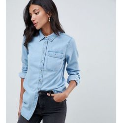 ASOS DESIGN Tall denim shirt with pocket in midwash blue - Blue