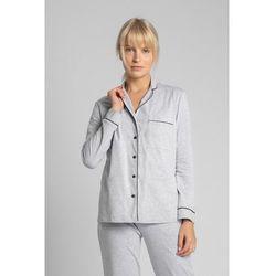 LA019 Bawełniana koszula od piżamy z kołnierzykiem - popielaty