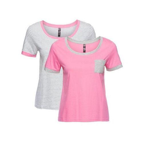 Bluzki, Shirt (2 szt. w opak.) bonprix jasnoszaro-biały w paski + jaskrawy jasnoróżowy