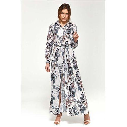 Suknie i sukienki, Wzorzysta Koszulowa Sukienka Maxi z Długim Rękawem