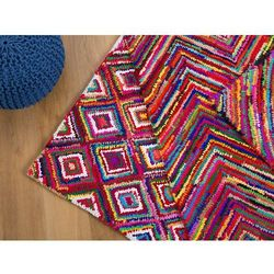 Dywan - kolorowy - poliester - bawełna - shaggy - 80x150 cm - KAISERI