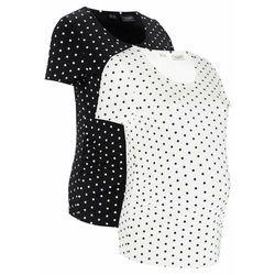Shirt ciążowy z krótkim rękawem (2 szt.), bawełna organiczna bonprix czarny + biały w kropki