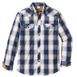 Koszula z długim rękawem bonprix niebieski w kratę