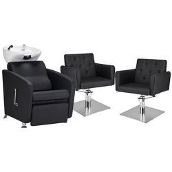 Zestaw Mebli Fryzjerskich - Myjnia Komfort Max + 2 Fotele Hamburg Kwadrat