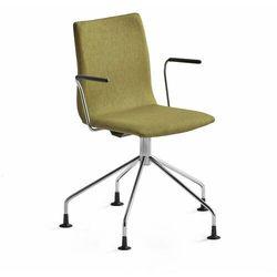 Krzesło konferencyjne OTTAWA, nogi pająka, podłokietniki, oliwkowa tkanina, chrom