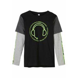 Shirt chłopięcy z efektem dwuwarstwowego bonprix czarno-jasnoszary melanż