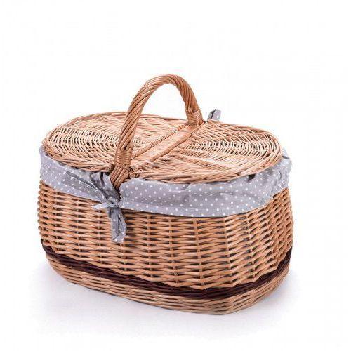 Koszyki, Wiklinowy kosz piknikowy samochodowy bagażowy, na piknik, z obszyciem
