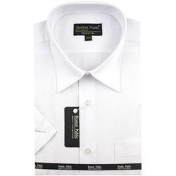 Koszula Męska Boston Public gładka biała na krótki rękaw K541