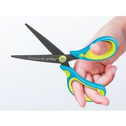 Nożyczki Griffix ergonomiczne szpiczaste neon blue