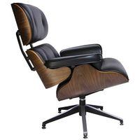 Fotele, Fotel LOUNGE czarny, sklejka orzech - skóra naturalna
