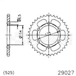 Zębatka tylna stalowa JT 50-29027-43, 43Z, rozmiar 525 2301470 Aprilia RST 1000