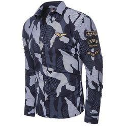 Koszula męska długi rękaw rl64 - granatowa