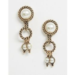 ASOS DESIGN earrings with vintage twist detail and pearl drops in gold - Gold