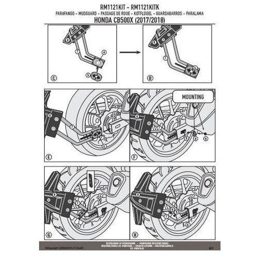 Błotniki motocyklowe, Kappa rm1121kitk mocowanie błotnika krm01 i krm02 honda