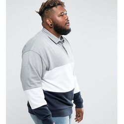 ASOS PLUS Oversized Rugby Sweatshirt With Colour Blocking - Grey