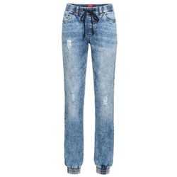 Luźniejsze spodnie chino z kieszeniami z zamkiem bonprix szary