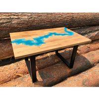 Stoliki i ławy, Stolik z żywicy 100x64 Lazurowa Rzeka 3D