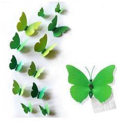 Ozdobne motylki zielone - 11 x 9 cm - 12 szt.