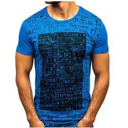 T-shirt męski z nadrukiem niebieski Denley 1173