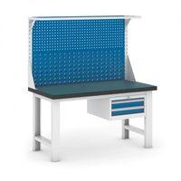 Stoły warsztatowe, Stół warsztatowy GB z panelem i kontenerem szufladowym, 1500 mm