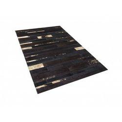 Dywan - brązowo - złoty - skóra - patchwork - 80x150 cm - ARTVIN