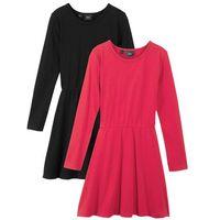 Sukienki dziecięce, Sukienka dziewczęca z dżerseju, z długim rękawem (2 szt.) bonprix czarny + czerwony