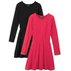 Sukienka dziewczęca z dżerseju, z długim rękawem (2 szt.) bonprix czarny + czerwony