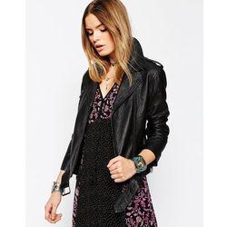 ASOS Biker Jacket in Premium Textured Leather - Black