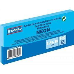 Bloczek samoprzylepny DONAU, 38x51mm, 3x100 kart., neon, niebieski
