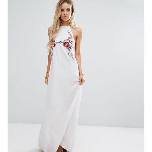 Suknie i sukienki, Boohoo Petite Embroidered Halterneck Maxi Dress - White