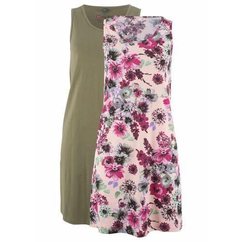 Suknie i sukienki, Sukienka z dżerseju (2 szt.) bonprix perłowy jasnoróżowy w kwiaty + oliwkowy