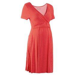 Sukienka ciążowa i do karmienia, shirtowa, krótki rękaw bonprix truskawkowo-biały w kropki