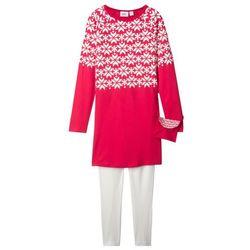 Sukienka dziewczęca z długim rękawem + legginsy + torebka (3 części) bonprix czerwono-biel wełny