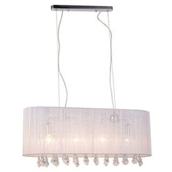 Żyrandol LAMPA wisząca ISLA MDM1870-4 WH Italux abażurowa OPRAWA kryształowa ZWIS glamour crystal biały