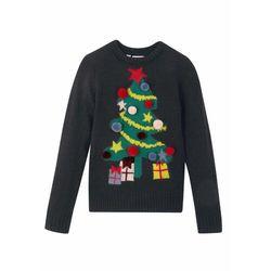 Sweter dziewczęcy z bożonarodzeniowym motywem bonprix czarny